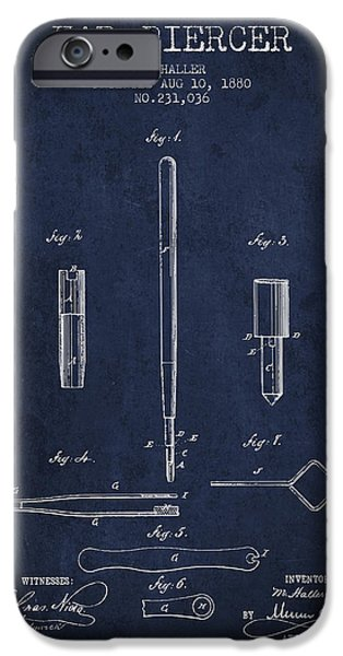 Surgical iPhone Cases - Ear Piercer Patent From 1880 - Navy Blue iPhone Case by Aged Pixel