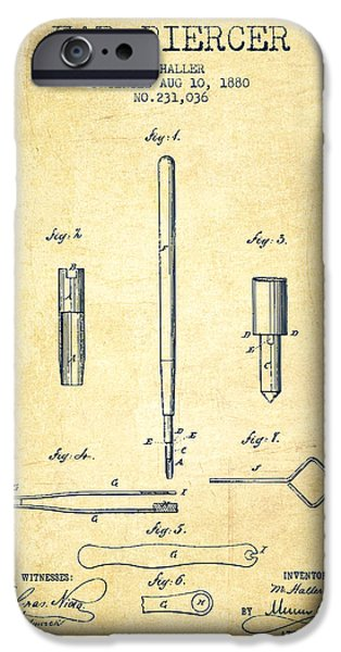 Surgical iPhone Cases - Ear Piercer Patent From 1880 - vintage iPhone Case by Aged Pixel