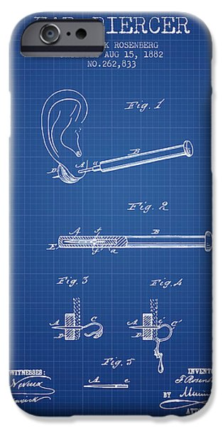 Ears iPhone Cases - Ear Piercer Patent From 1882 - Blueprint iPhone Case by Aged Pixel