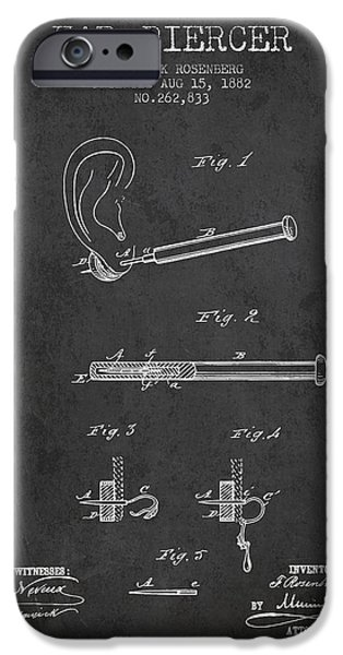 Surgical iPhone Cases - Ear Piercer Patent From 1882 - Charcoal iPhone Case by Aged Pixel