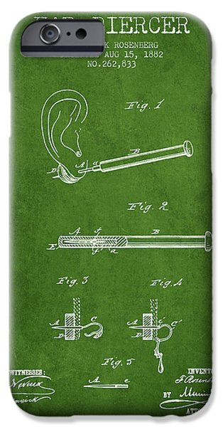 Ears iPhone Cases - Ear Piercer Patent From 1882 - Green iPhone Case by Aged Pixel