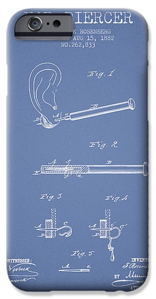 Ears iPhone Cases - Ear Piercer Patent From 1882 - Light Blue iPhone Case by Aged Pixel