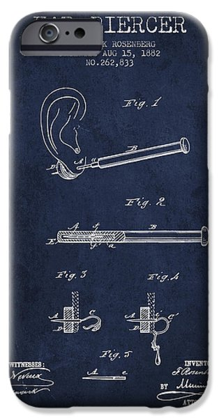 Ears iPhone Cases - Ear Piercer Patent From 1882 - Navy Blue iPhone Case by Aged Pixel