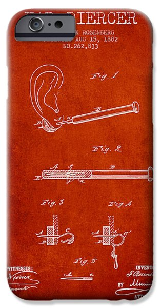 Ears iPhone Cases - Ear Piercer Patent From 1882 - Red iPhone Case by Aged Pixel