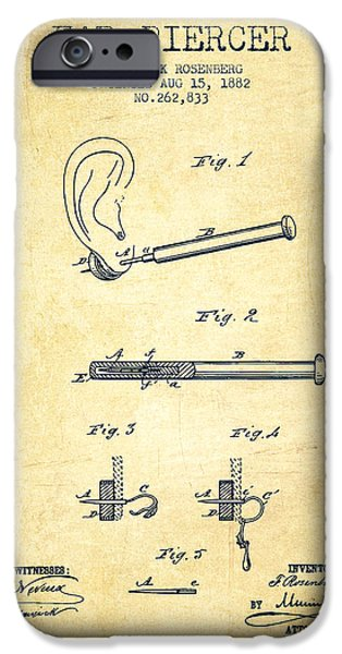 Surgical iPhone Cases - Ear Piercer Patent From 1882 - Vintage iPhone Case by Aged Pixel