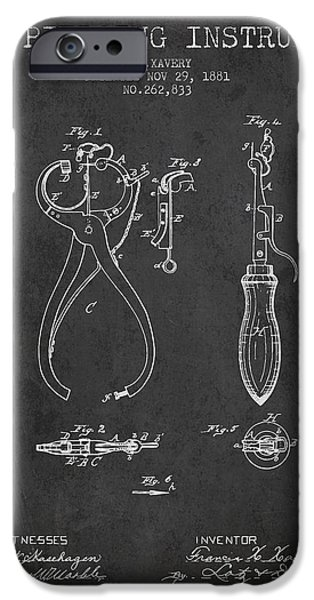 Ears iPhone Cases - Ear Piercing Instrument Patent From 1881 - Charcoal iPhone Case by Aged Pixel