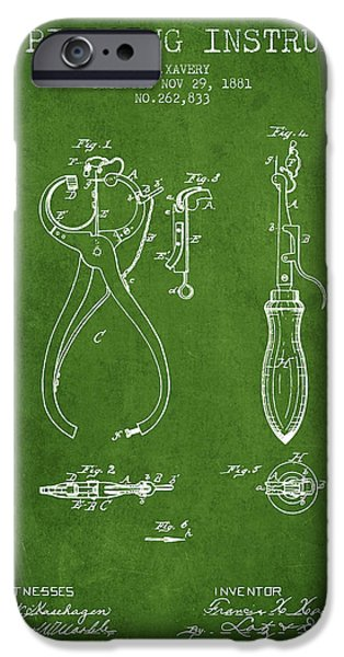 Ears iPhone Cases - Ear Piercing Instrument Patent From 1881 - Green iPhone Case by Aged Pixel