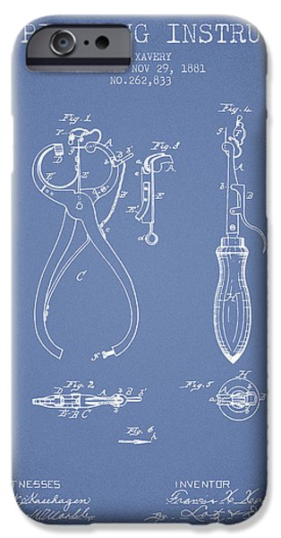 Ears iPhone Cases - Ear Piercing Instrument Patent From 1881 - Light Blue iPhone Case by Aged Pixel