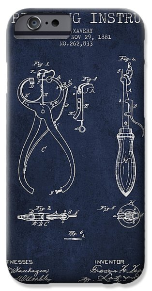 Ears iPhone Cases - Ear Piercing Instrument Patent From 1881 - Navy Blue iPhone Case by Aged Pixel