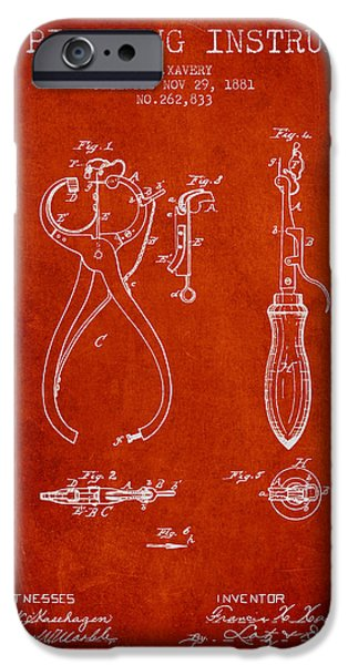 Ears iPhone Cases - Ear Piercing Instrument Patent From 1881 - Red iPhone Case by Aged Pixel