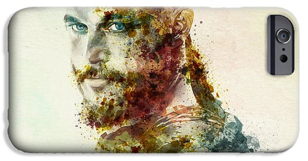 Marian iPhone Cases - Earl Ragnar Lothbrok in watercolor iPhone Case by Marian Voicu