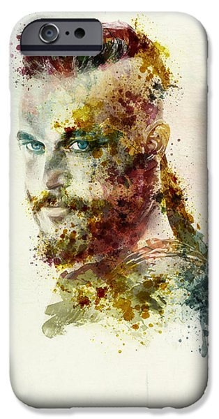 Affordable iPhone Cases - Earl Ragnar Lothbrok in watercolor iPhone Case by Marian Voicu