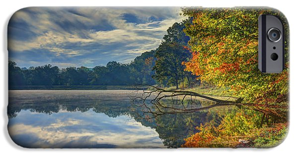Autumn Scenes iPhone Cases - Early Autumn at Caldwell Lake iPhone Case by Jaki Miller