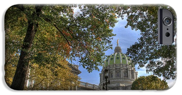 Capitol iPhone Cases - Early Autumn at the Capitol iPhone Case by Lori Deiter