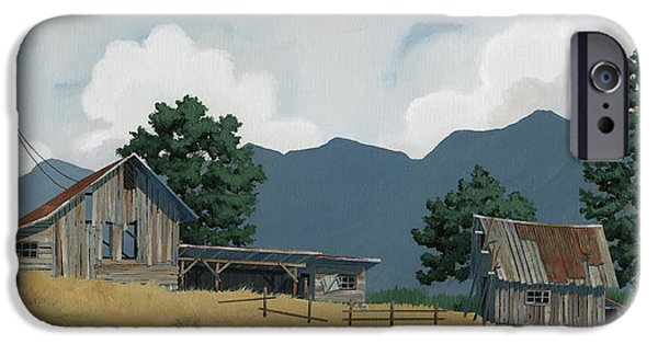 Barns Paintings iPhone Cases - Early Bigfork Farmstead iPhone Case by John Wyckoff