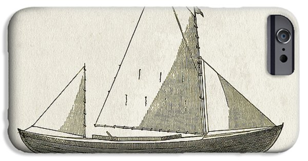 Canoes iPhone Cases - Early Canoe Sketch iPhone Case by Gary Bodnar