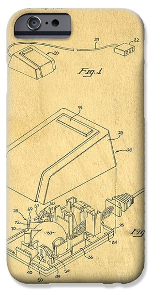 Computing iPhone Cases - Early Computer Mouse Patent Yellowed Paper iPhone Case by Edward Fielding