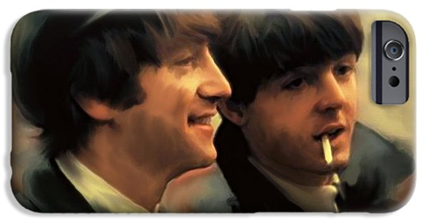 Mccartney Drawings iPhone Cases - Early Days II John Lennon and Paul McCartney iPhone Case by Iconic Images Art Gallery David Pucciarelli