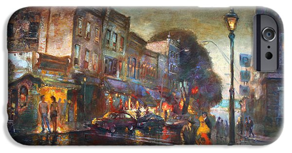 Couple iPhone Cases - Early Evening in Main Street Nyack iPhone Case by Ylli Haruni