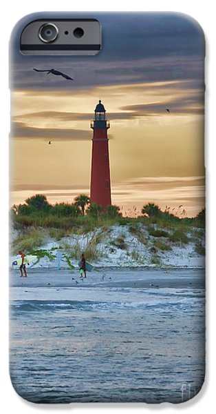 Lighthouse iPhone Cases - Early Evening Sky iPhone Case by Deborah Benoit