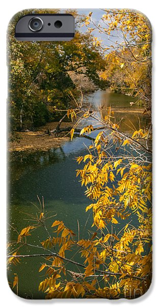 Canoe iPhone Cases - Early Fall On the Navasota iPhone Case by Robert Frederick