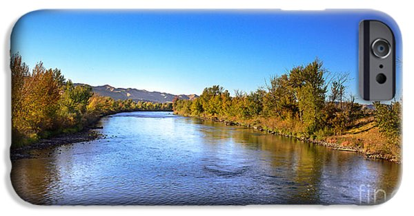 Silk Water iPhone Cases - Early Fall On The Payette River iPhone Case by Robert Bales