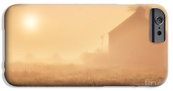 Agricultural iPhone Cases - Early foggy morning on the farm iPhone Case by Edward Fielding