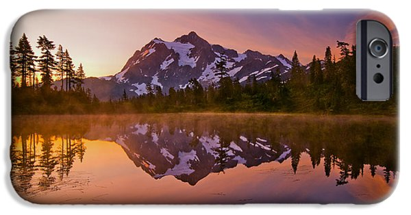 Sunrise iPhone Cases - Early Morning at Picture Lake iPhone Case by Darren  White