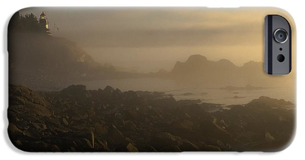 West Quoddy Head Lighthouse iPhone Cases - Early morning fog at Quoddy iPhone Case by Marty Saccone