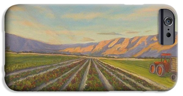 Business Paintings iPhone Cases - Early Morning Harvest iPhone Case by Maria Hunt
