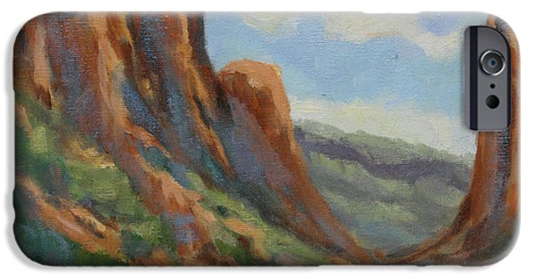 Business Paintings iPhone Cases - Early Morning in Diablo Canyon iPhone Case by Maria Hunt