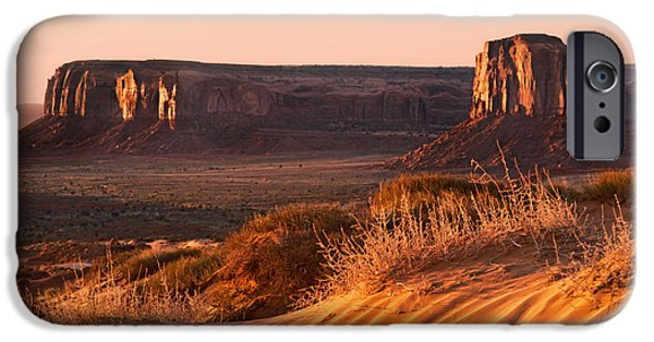 Red Rock iPhone Cases - Early morning in Monument Valley iPhone Case by Jane Rix