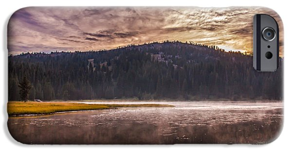 Haybale iPhone Cases - Early Morning Lake Light iPhone Case by Robert Bales