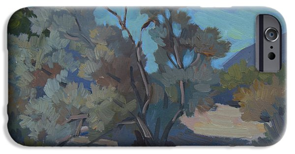Morning Light Paintings iPhone Cases - Early Morning Light Smoke Tree iPhone Case by Diane McClary