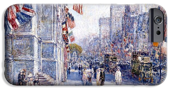 Hassam iPhone Cases - Early Morning On The Avenue iPhone Case by Frederick Childe Hassam