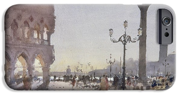 San Marco iPhone Cases - Early Morning, Piazzetta, Venice, 1989 Wc On Paper iPhone Case by Trevor Chamberlain
