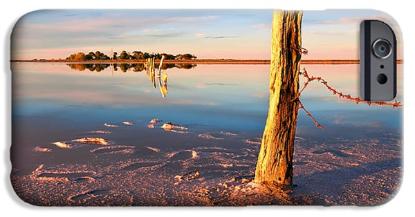 Barbed Wire Fences iPhone Cases - Early Morning Salt Pan iPhone Case by Bill  Robinson