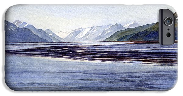 Snow-covered Landscape Paintings iPhone Cases - Early Morning Shadows Turnagain Arm iPhone Case by Sharon Freeman