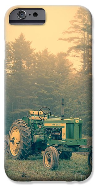 Plow iPhone Cases - Early morning tractor in farm field iPhone Case by Edward Fielding