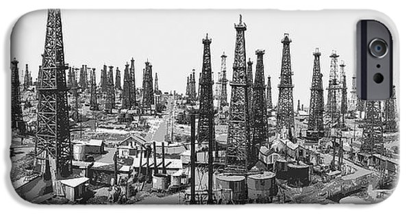 Oil Mixed Media iPhone Cases - Early Oil Field iPhone Case by Daniel Hagerman