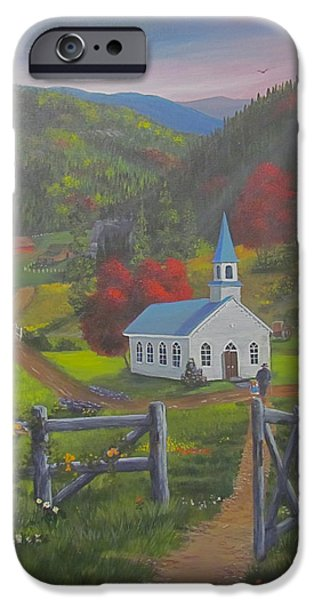 Smokey Mountains Paintings iPhone Cases - Early on the Lords Day iPhone Case by Glen Gray