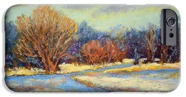 Autumn Scenes Pastels iPhone Cases - Early Snow iPhone Case by Arlene Baller