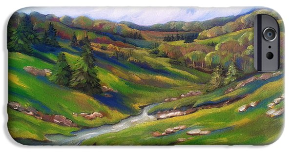 Business Paintings iPhone Cases - Early Spring In The Foothills 1 iPhone Case by MarLa Hoover