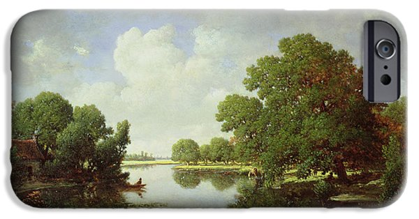 Recently Sold -  - Canoe iPhone Cases - Early Summer Afternoon iPhone Case by Pierre Etienne Theodore Rousseau