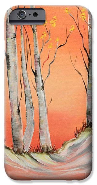Winter Scene iPhone Cases - Early Winter Aspen iPhone Case by Janice Rae Pariza