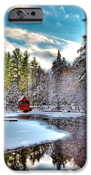Snow Scene iPhone Cases - Early Winter at the Red Boathouse iPhone Case by David Patterson