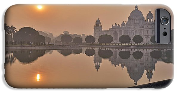 Small Pyrography iPhone Cases - EarlyMorning Victoria Memorial iPhone Case by Debrup Chatterjee