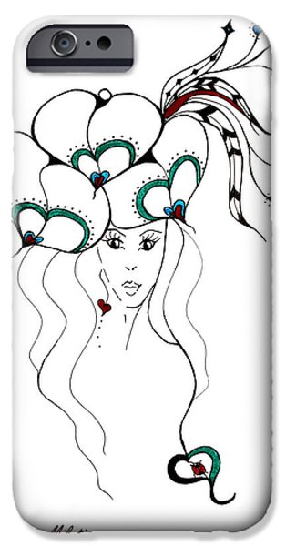 Graphic Design iPhone Cases - Earth Woman 6 iPhone Case by Valentina Miletic