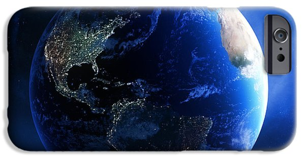 Starfield iPhone Cases - Earth and galaxy with city lights iPhone Case by Johan Swanepoel