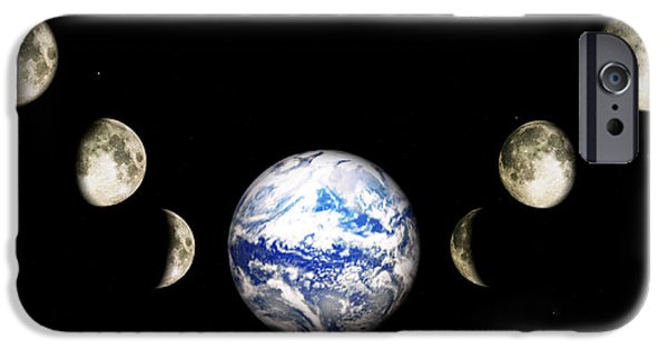 Frame Shop Digital Art iPhone Cases - Earth and phases of the Moon iPhone Case by Bob Orsillo